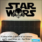 Large Starwars Bedroom wall sticker art Logo with Darth Vader Head Matt Decal UK