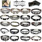 2014 MENS LADIES REAL GENUINE LEATHER & STAINLESS STEEL BRACELET / WRISTBAND