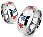 New Men's/Women's Stainless Steel Red,White&Blue Stars Band Ring Size 5-13(3040)
