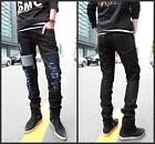 Men's Stylish Patched Patched Ripped Holey Pants Torn Slim Cut Jeans Trousers
