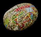 LL324n Red Brown Blue London Map Round High Quality Cotton Canva Cushion Cover