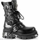 Newrock New Rock 373 S4 Metallic Boots Black Leather Gothic Biker Emo Fashion