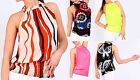 Ladies Halter Neck Printed Blouse Womens Ruched Sleeveless Party Top Sizes 8-20