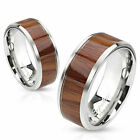 316L Stainless Steel Wood Center Inlaid Wedding Band Ring Size 5-13