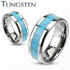 Mens/Womens Tungsten Turquoise Inlay Band Ring/Wedding/Couples/Sizes 5-14 (205)