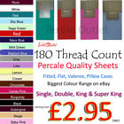 Non-Iron Percale Fitted,Flat,Valance Sheet Single Double King SK Pillow Case