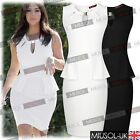 Womens Business Offices Workwear Peplum Sleeveless Bodycon Cut Out Dresses681024