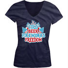 Cold Beer Fireworks Freedom - America 4th Of July Girls Junior V-Neck T-Shirt