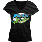 Master Baiter - Funny Sexual Fishing Joke Maturbate Girls Junior V-Neck T-Shirt