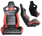 1 PAIR BLACK & RED PVC LEATHER RACING SEATS RECLINABLE + SLIDERS ALL ACURA