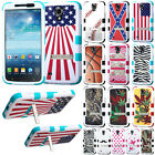 For Samsung Galaxy Mega 6.3 I527 I9200 I9205 Zebra Tuff Hybrid Stand Case Cover