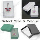 GIFT BOX WHITE SILVER BLACK FLORAL SMALL OR MEDIUM JEWELLERY BOX COTTON FILLED