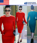 Modest Wear To Work Womens Formal Career Pencil Dress Stretch US Local Shipment