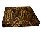 hj01t Brown Lt. Gold Brown Peacock Feather 3D Box Sofa Seat Cushion Cover Custom