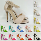 WOMENS SEXY PARTY  BRIDAL Faux Patent HIGH HEELS SHOES SANDALS ST-102-2  UK2-9