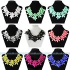 Women Flower Chain Crystal Acrylic Choker Chunky Statement Bib Collar Necklace