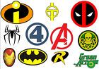 Super Hero logos / symbols iron on t shirt transfer can be personalised marvel