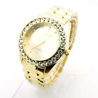 Techno Trend Mens Iced Out Luxury Rhinestone Metal Band Analog Round Wristwatch