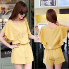 New Women Short Sleeves Jumpsuit Crew Neck Stretch Waist Playsuit Short Rompers