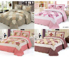 100% Cotton 3Pcs Quilted Bedspread Throw Set Comforter 2 Pillow Double King Size