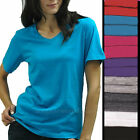 Womens Shirts V-Neck Tee short sleeve Cotton T-Shirts Plain Solid colors S - 2XL