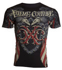 Xtreme Couture AFFLICTION Men T-Shirt ROCKET Flag Tattoo Biker USA M-4XL $40 image