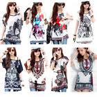 Womens Sexy Maternity Printing Long Section Bat Sleeve T Shirt Blouse Top DUS55