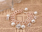 1pc Hot sale Smooth White Pearl Full Crystal Ball Charms Link Brangel Bracelet