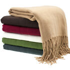 "Fringe Throw Blanket Lightweight Soft 100% Acrylic 50""x70"" Comfy Cozy + Gift Bow"