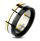 Men's Stainless Steel Black-Gold-Silver Tri-Color 8mm Band Ring Size 9-13 (0015)