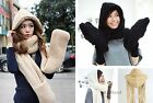Dual Hat Scarves Warm Winter Women Girl Solid color Plush Hooded Hat Cap Scarves