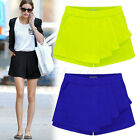 Fashion Candy Color Womens Career Tiered Culottes Skorts Shorts Wrap Mini Skirts