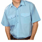 Mens Short Sleeve Pilot Classic Formal Shirts in White and Light Blue , S to 3XL