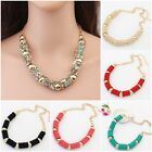Beautiful Womens Lady Golden Chain Retro Cylinder Pendant Bubble Choker Necklace