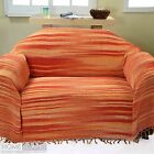 Large Bed Sofa Throw Cotton Chenille Tie Dye Orange Hand Woven Bedspread Blanket