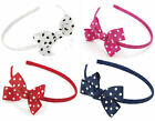 Polka Dot Bow Headband Alice Band Hairband Hair Accessory - Choose Your Shade