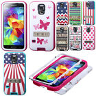 For Samsung Galaxy S5 i9600 G900 VERGE Dots Hybrid Stand Rubber Hard Case Cover