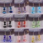 Free Shipping Multi-color Crystal Faceted Beads Dangle Earrings 1Pair LU201-218