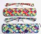 New Women's 2 Pair Magnivision Rimless Reading Glasses +1.50 to +2.50 with cases