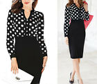Womens Summer Polka Dot Wear to Work Cocktail Party Sheath Bodycon Pencil Dress