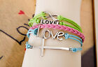 hot fashion colour multilayer leather weaves infinity charm jewelry bracelet