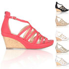 NEW WOMENS LADIES STRAP CORK WEDGE PEEP TOE SANDALS MID HEEL PLATFORM SHOES