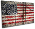 Abstract American Maps Flags TREBLE CANVAS WALL ART Picture Print VA