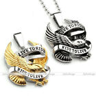 Cool Mens Live to Ride Eagle Motorcycle Biker Pendant Chain Necklace Punk Steel