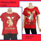 ♥ Ladies Plus Size Playboy Black T Shirt ♥  red & gold sizes 18 20 22 24 26 NWT