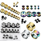 2pcs Punk Stainless Steel Rubber Ear Tunnels Plug Expander Stretcher
