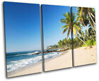 Beach Sunset Seascape TREBLE CANVAS WALL ART Picture Print VA