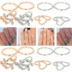 Newly 4pc/Set Rings Urban Gold Plated Crystal Plain Above Knuckle band Midi Ring