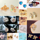 Hot New Design Fashion 1 Pair Man Made Double Pearl Earrings Ear Studs 10 Colors