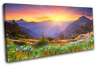 Sunset Mountains Landscapes SINGLE CANVAS WALL ART Picture Print VA